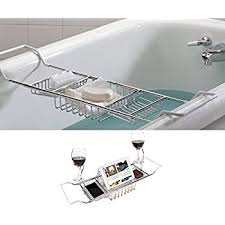 umbra aquala bathtub caddy amazon com umbra aquala bamboo and chrome bathtub caddy home