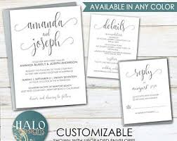 plain wedding invitations simple wedding invitation etsy