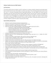 Quality Assurance Engineer Resume Sample by Quality Engineer Job Description Software Quality Assurance