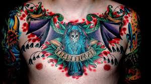 colorful traditional tattoos on chest in 2017 photo pictures