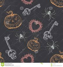spooky vintage halloween hand drawn vintage halloween seamless pattern royalty free stock