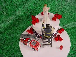 firefighter wedding cake blowing kisses and fireman to the rescue groom firefighter