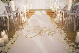 black aisle runner ceremony décor photos custom gold monogram aisle runner inside