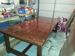 how to finish a table top with polyurethane ana white farmhouse table with epoxy finish diy projects