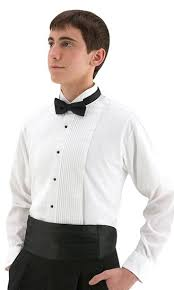 shirt wing tip collar pleated front