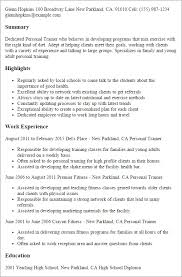 personal trainer resume sample jennywashere com