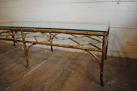 hollywood regency gilt metal faux bamboo coffee table phylum dsc