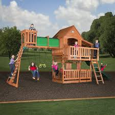 How To Build A Wooden Playset Amazon Com Backyard Discovery Woodridge Ii All Cedar Wood Playset