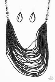 black seed bead necklace images Paparazzi accessories bead brave black jpg