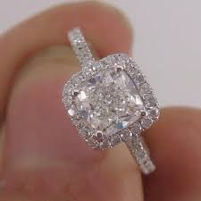 1 carat halo engagement ring brilliant luxury cushion cut carat halo engagement wedding ring