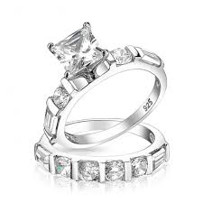 Princess Cut Wedding Ring by Sterling Silver 2ct Princess Cut Cz Engagement Wedding Ring Set