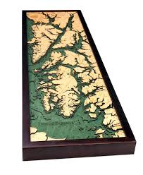 Alaska Inside Passage Map by Inside Passage Alaska Nautical Wood Chart Wood Map Art