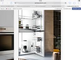 armoire en coin cuisine armoire en coin avec tiroir pour grille et cafetière