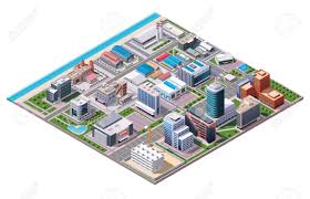 isometric industrial and business city district map royalty free