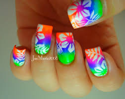 summer neons hawaiian tropical print nail design youtube