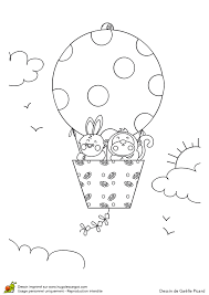 dessin à colorier d u0027un ballon tout rond où voyagent un singe et un