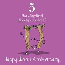 5th wedding wood anniversary card