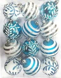 aqua white silver ornaments