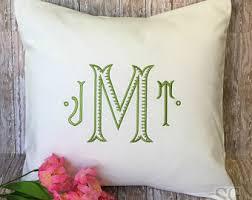 Monogrammed Home Decor Monogram Pillow Cover Dorm Decor Home Accent Throw Pillows