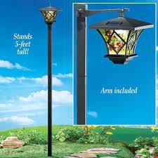 solar tall lamp post garden yard lawn patio path light outdoor