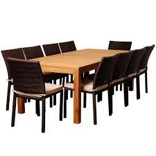 amazonia zonder 11 piece teak rectangular patio dining set with