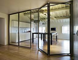 interior glass walls for homes dining kitchen combination folding glass wall contemporary