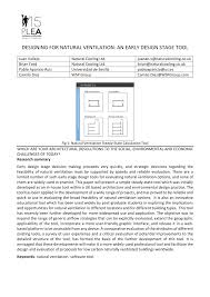 designing for natural ventilation an early design stage tool pdf
