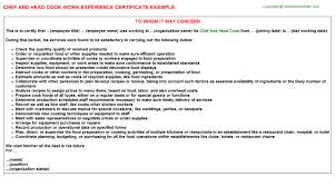 chef and head cook work experience certificate