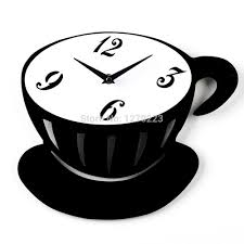 coffee cup black and white wall clock best creative home decor diy