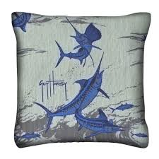 Blue Outdoor Cushions Guy Harvey Outdoors Knife Edge Outdoor Pillow 14in X 14in Dfohome