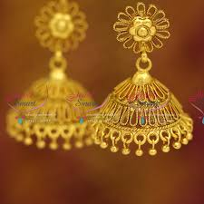 gold jhumka earrings design j3665 antique gold plated nagas stylish sprial design broad jhumka