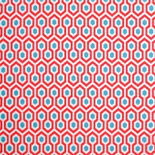 Indoor Outdoor Fabric For Upholstery Geometric Upholstery Fabric Aqua And Red Fabric