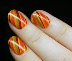 nail for thanksgiving thanksgiving nails diagonal stripes fall colors stylefrizz