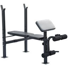 soozier incline flat exercise free weight bench w curl bar
