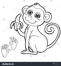 monkey paw print coloring page vector stock vector 323280677