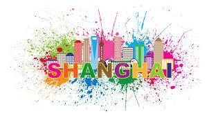 shanghai city skyline paint splatter vector illustration stock