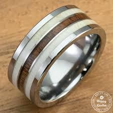 Wooden Wedding Rings by Genuine Antler U0026 Hawaiian Koa Wood Tungsten Carbide Ring