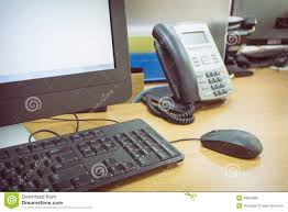 telephone bureau table work in office with telephone and computer stock photo image