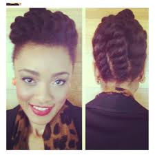 chunky flat twist updo perfect for naturals on the go