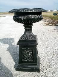 Urn Planters With Pedestal Vienna Aluminum Garden Urn On Base Flower Pot