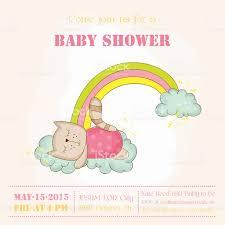 baby cat sleeping on a rainbow baby shower card stock vector