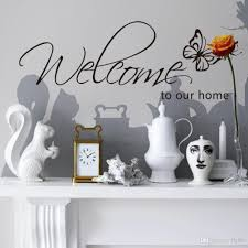 welcome to our home wall lettering stickers black cute butterfly can be applied to any hard surface walls mirrors doors or any other surface you can think of no background free standing letters comes with transfer