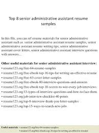 sample resume administrative top 8 senior administrative assistant