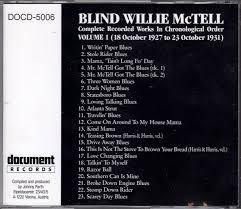 Travelin Blues Blind Willie Mctell Cd Album Blind Willie Mctell Volume 1 1927 1931 Document