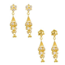 gold earrings 22ct yellow gold earrings jhumka style with cz stones 07