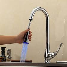 contemporary pull kitchen faucet with color changing led