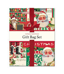 christmas gift bag cavallini papers vintage christmas gift bag set typo market