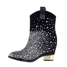 rhinestone bling boots increased heel ankle boots