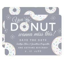 Wedding Save The Dates Funny Donut Themed Wedding Save The Dates Card Zazzle Com