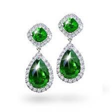 emerald drop emerald green color cz teardrop pave dangle earrings